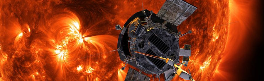 A computer-generated image is seen of NASA's Parker Solar Probe heading towards the sun.