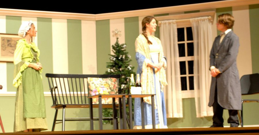 Kaitlyn Myers (from left), as Hannah, Gianna Carnevalino, as Mrs. March, and Nick Hyden, as Laurie, rehearse onstage Nov. 14.