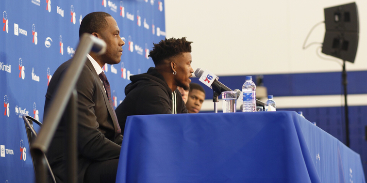 Sixers General Manager Elton Brand helps introduce All-Star forward Jimmy Butler to the team on Nov. 13.