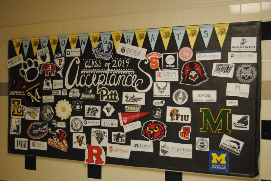 The+college+acceptance+collage+is+pictured+outside+of+Spring-Ford%27s+Future+Planning+Center.+The+FPC+is+available+to+help+students+make+their+decisions+on+their+college+destinations.+