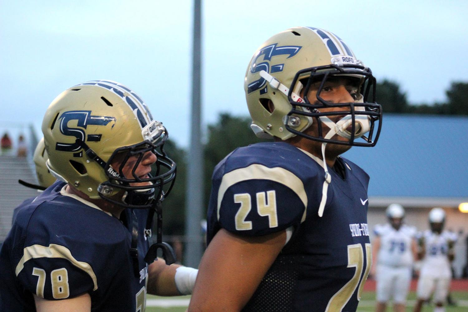 Sean Brogan and James Albert look on during the Spring-Ford football season. The Rams finished the season 8-3.