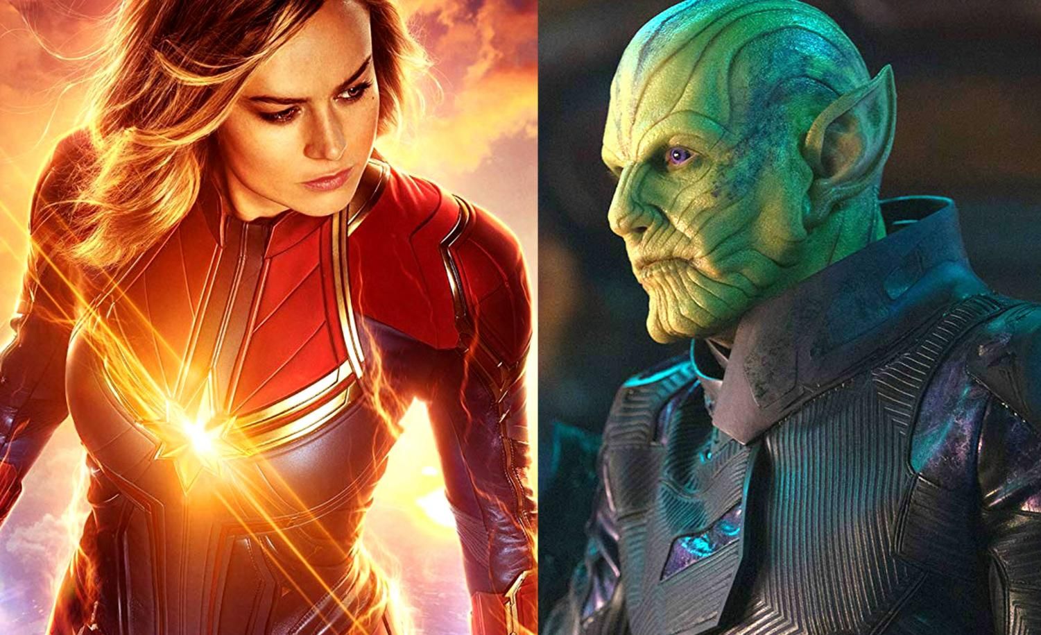 Captain Marvel is the next blockbuster Marvel title, scoring huge money at the box office and battling with the Skrulls (right).