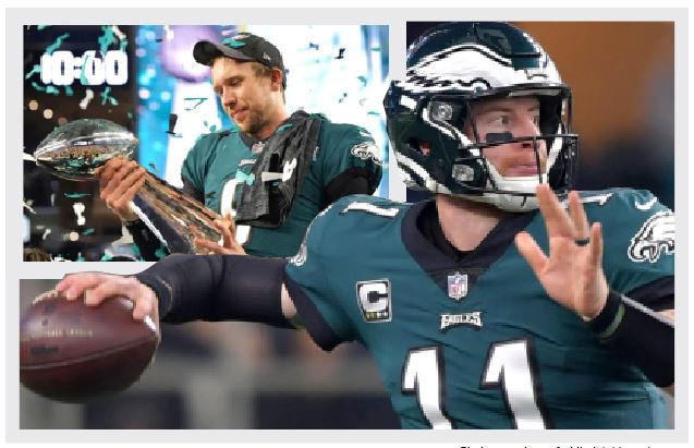 Eagles+quarterback+Carson+Wentz+%28right%29+will+try+to+get+his+first+playoff+victory+this+year+after+watching+former+teammate+Nick+Foles+win+a+Super+Bowl+and+a+playoff+round+last+year.+