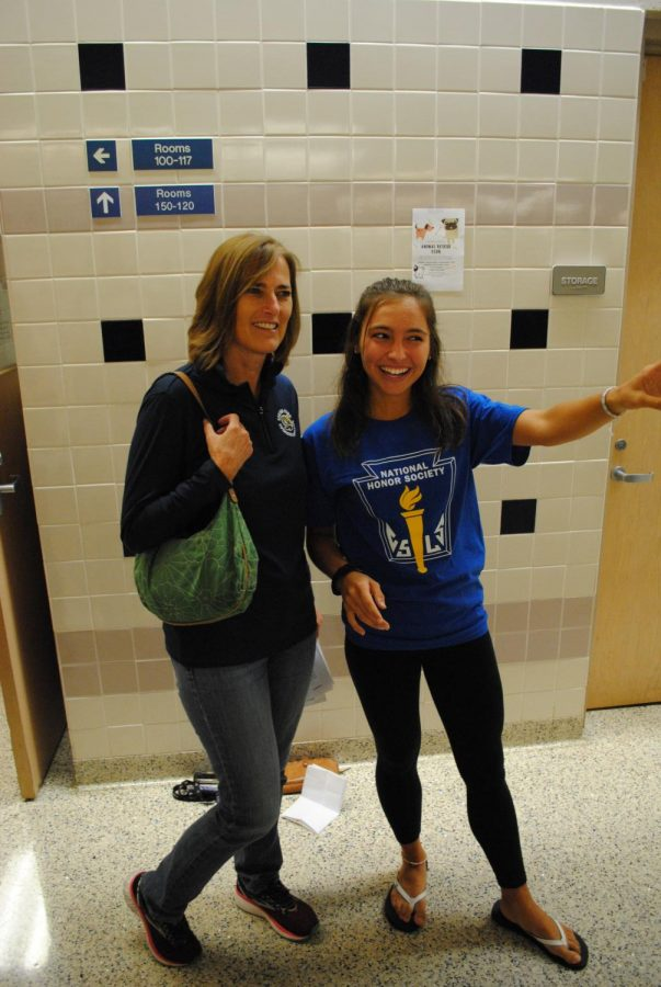 Parent Kelley Thomas gets directions from Devon Pyter on Sept. 17 during Spring-Ford's Open House. Parents were able to tour the school and visit their students' classes at the annual event.