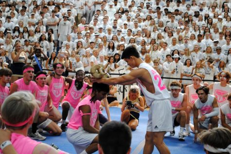 Students celebrate during the Pep Rally on the final day of Spirit Week. Flexibility with scheduling and use of the gym help make the week special for students.