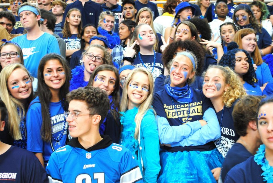 Spring-Ford juniors Corrine Ferko (from left), Lucy Olsen, and Molly Thomas celebrate at the Pep Rally during Spirit Week.