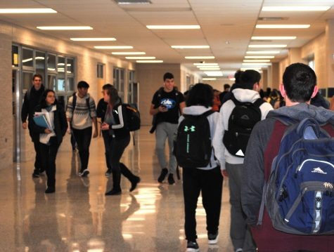 Students make their way to class through the newly constructed hallway at Spring-Ford.