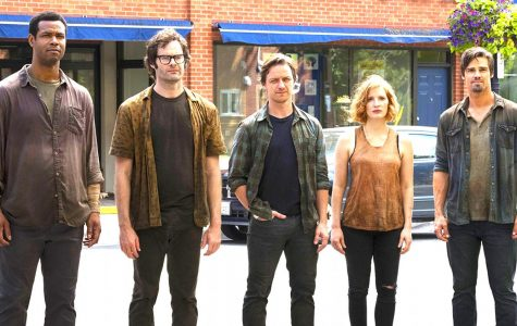 "From left, Isaiah Mustafa, Bill Hader, James McAvoy, Jessica Chastain, and Jay Ryan star in ""It Chapter Two."""