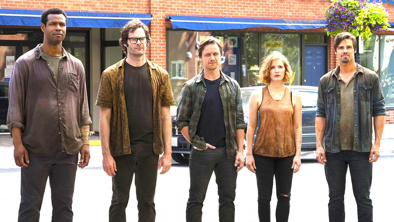 """From left, Isaiah Mustafa, Bill Hader, James McAvoy, Jessica Chastain, and Jay Ryan star in """"It Chapter Two."""""""