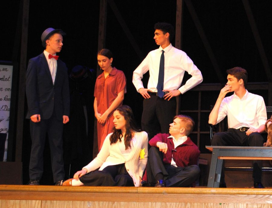 """From left, Griffin Lee, Zoe Yeager, Olivia Hungate, Nathaniel Warren, and Nick Hyden star in """"Diary of Anne Frank."""""""
