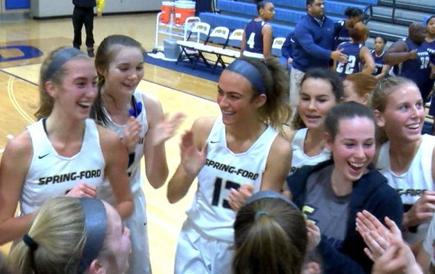 Spring-Ford+basketball+player+Lucy+Olsen+%28left%29+is+greeted+by+teammates+after+scoring+her+1%2C000th+point+in+an+85-15+victory+over+Pottstown.+
