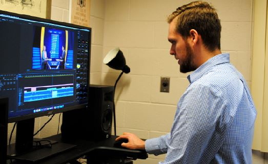 Spring-Ford Media Communications Manager Andrew Rothermel produces an RCTV segment on editing equipment.
