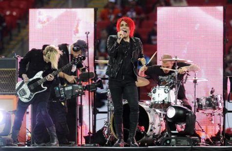Lead singer Gerard Way front My Chemical Romance at Wembley Stadium.