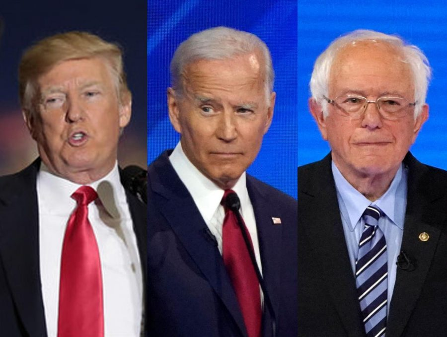 President+Donald+Trump+%28from+left%29+will+likely+face+either+former+vice+president+Joe+Biden+or+Senator+Bernie+Sanders++in+the+general+election+this+fall.+