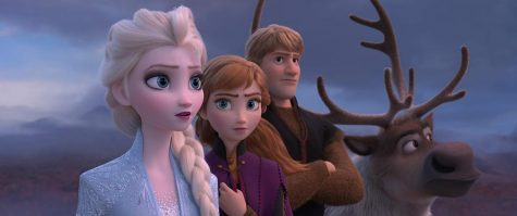 Idina Menzel as Elsa, Kristen Bell as Anna, and Jonathan Groff as Kristoff star in Frozen 2.