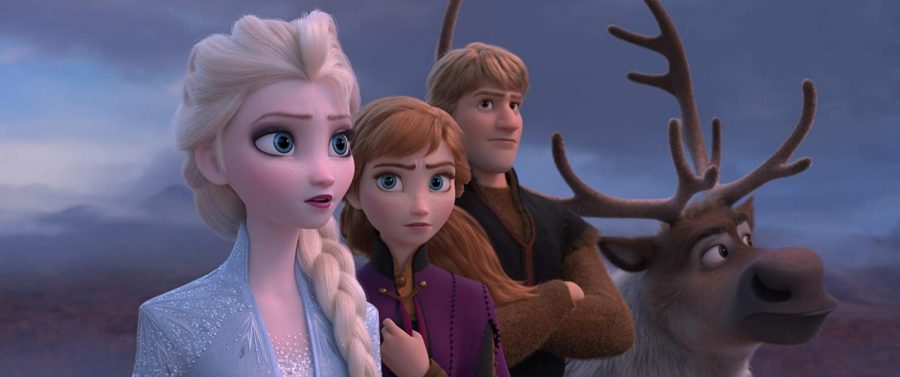 Idina+Menzel+as+Elsa%2C+Kristen+Bell+as+Anna%2C+and+Jonathan+Groff+as+Kristoff+star+in+Frozen+2.