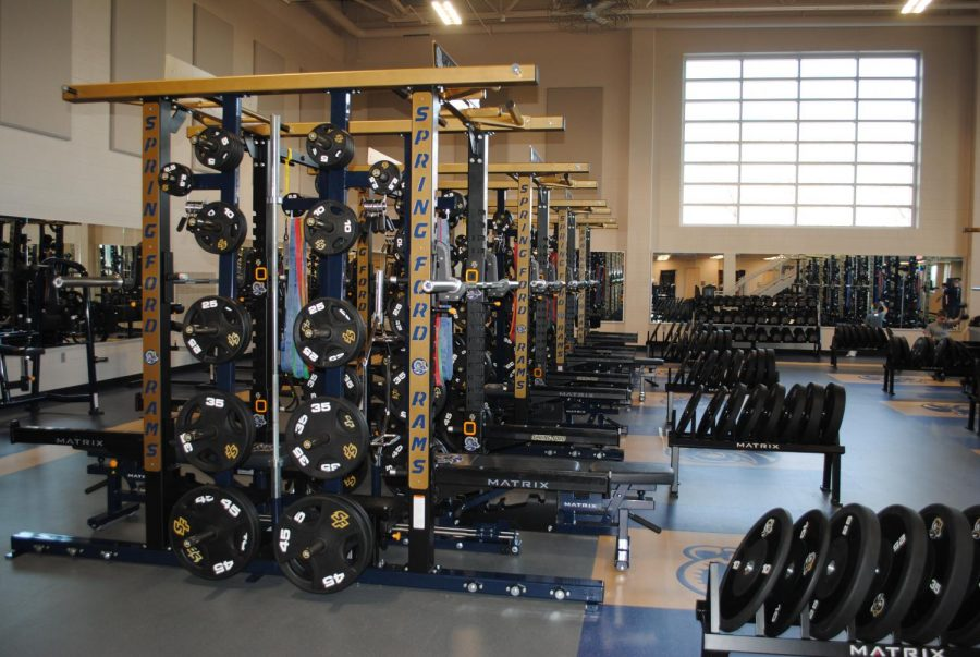 The downstairs of the fitness center is pictured.