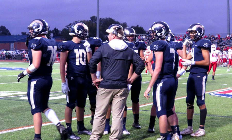 Spring-Ford+football+coach+Chad+Brubaker+speaks+with+his+team+during+a+game+last+fall.+The+PIAA+approved+return-to-play+guidelines+for+this+fall+on+July+27.+