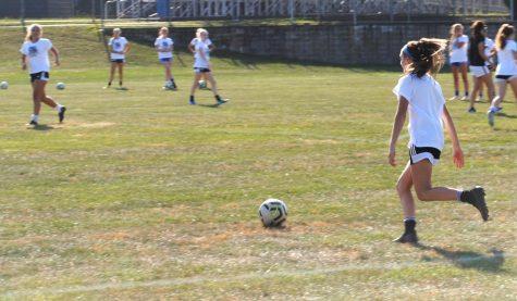 The girls soccer team practices Sept. 23.