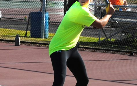 Spring-Ford No. 1 singles player, freshman Mia Matriccino, practices Sept. 23 during a girls tennis scrimmage.
