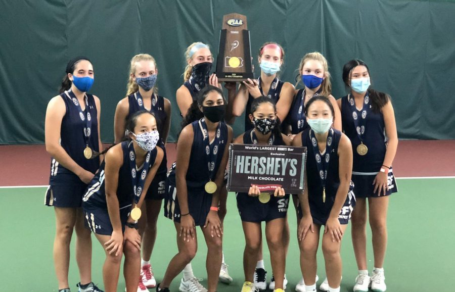 The Spring-Ford girls tennis team celebrates its Pennsylvania Interscholastic Athletic Association state championship in Hershey.