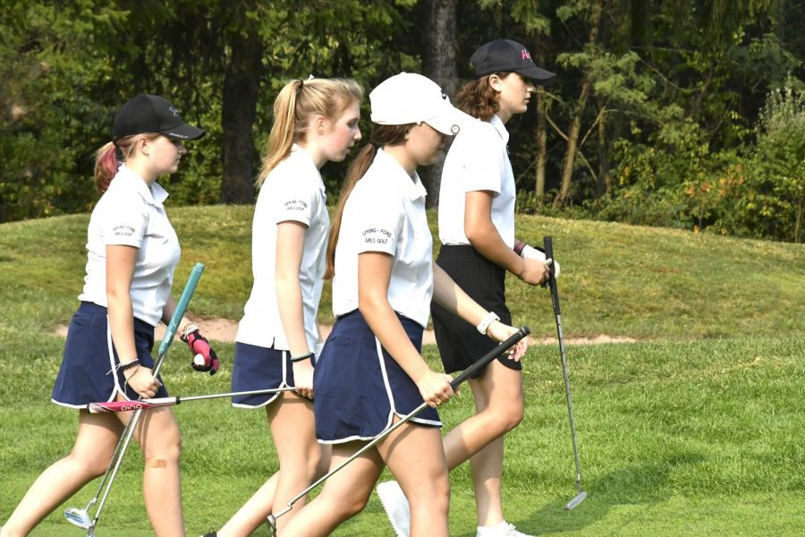 Spring-Ford+golfers+%28from+left%29+Olivia+Trego%2C+Bryn+Borzillo%2C+Sophia+Harvey+compete+in+a+match+earlier+this+year.+