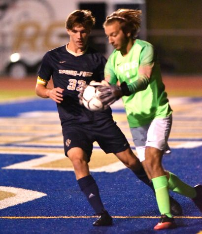 Spring-Ford midfielder Tommy Bodenschatz (left) competes in a game earlier this year.