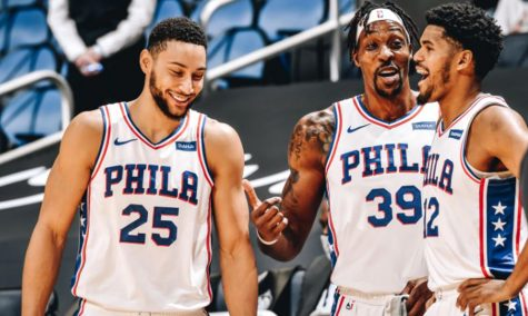 Sixers stars Ben Simmons (from left), Dwight Howard, and Tobias Howard speak during a game earlier this year.