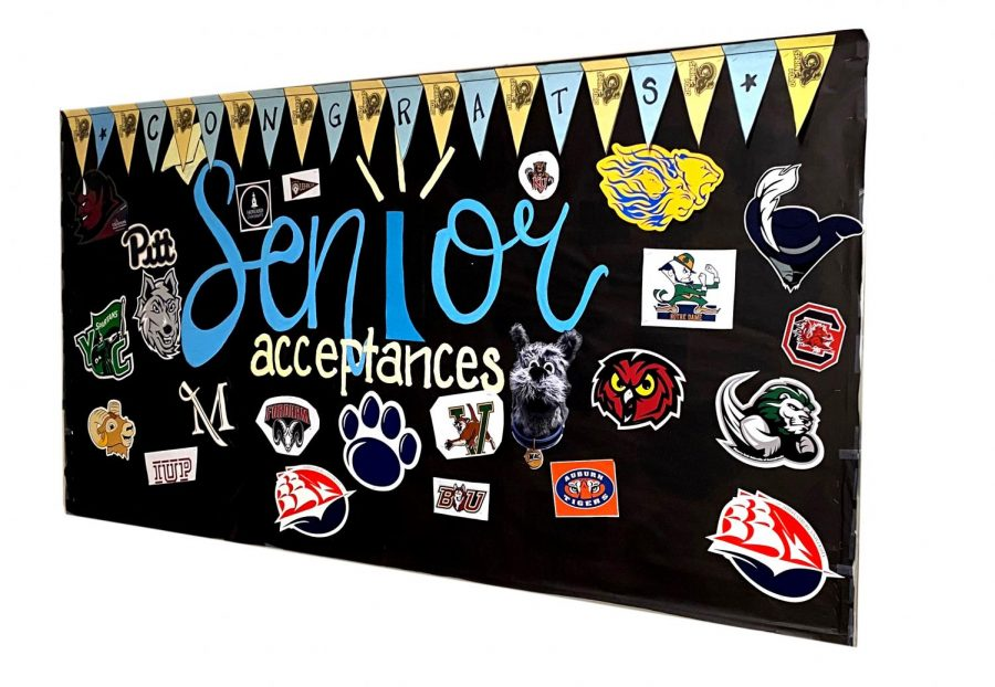 The Spring-Ford senior acceptance board is pictured.