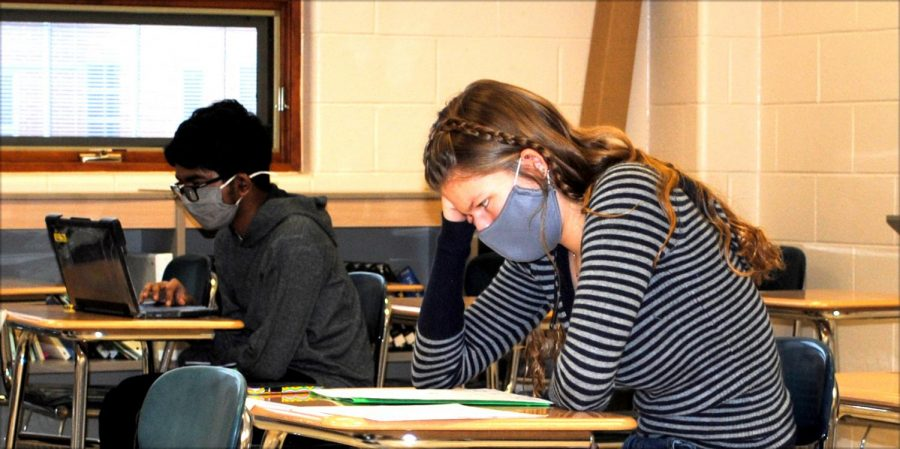 Keely Curcio (right) and Samyan Nakkella work during a study hall Feb. 9 in the 10-12 Center.
