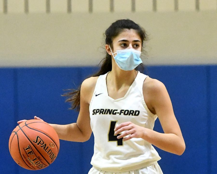 Spring-Ford's Anna Azzara scored nine points in the team's 58-41 victory over Abington on Saturday in the District One 6A Quarterfinals.