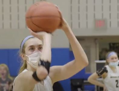 Lucy Olsen lines up a free throw in the final moments of the Spring-Ford girls basketball team