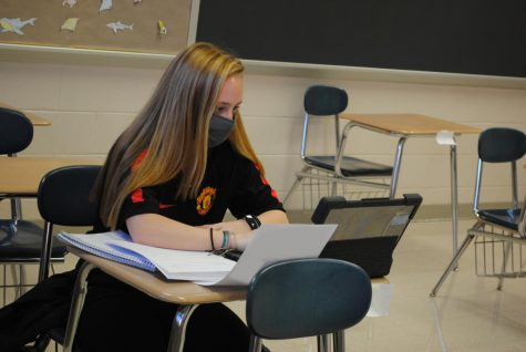 Spring-Ford student Haley Dennison completes an assignment during study hall April 12.