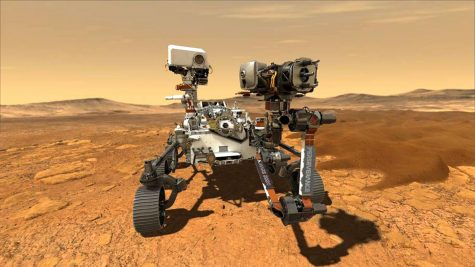 An illustration pictures NASA's rover Perseverance on the surface of Mars.