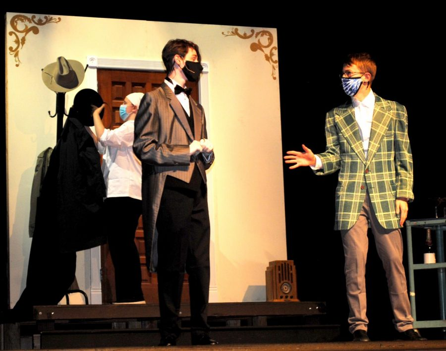 """Actors (from left) Caitlyn Swartz, Dylan Clark, and Brendan MacCoy perform during rehearsals for Spring-Ford's production of """"Clue On Stage."""""""