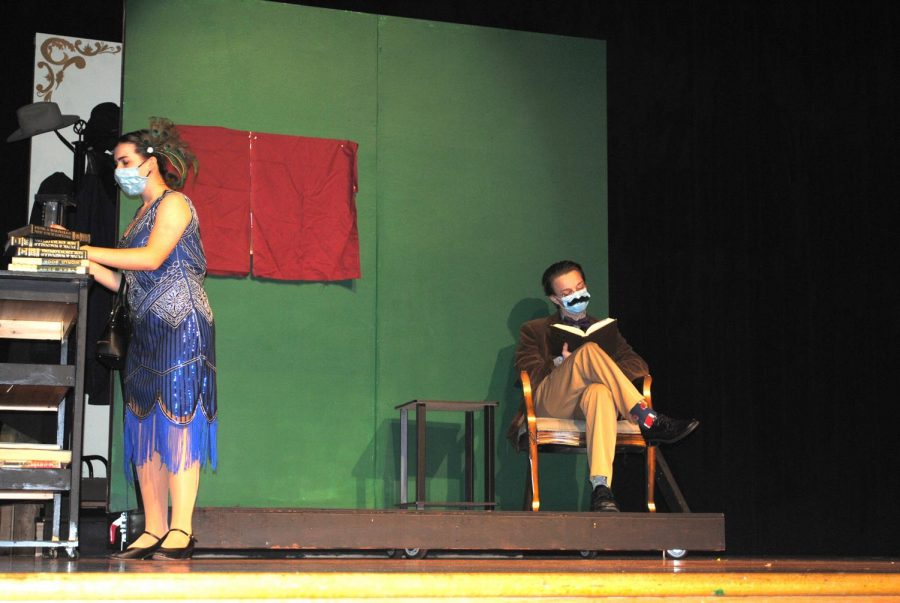 """Annie Rizzo starred as Mrs. Peacock and Griffin Lee played Professor Plum in Spring-Ford's production of """"Clue On Stage."""""""