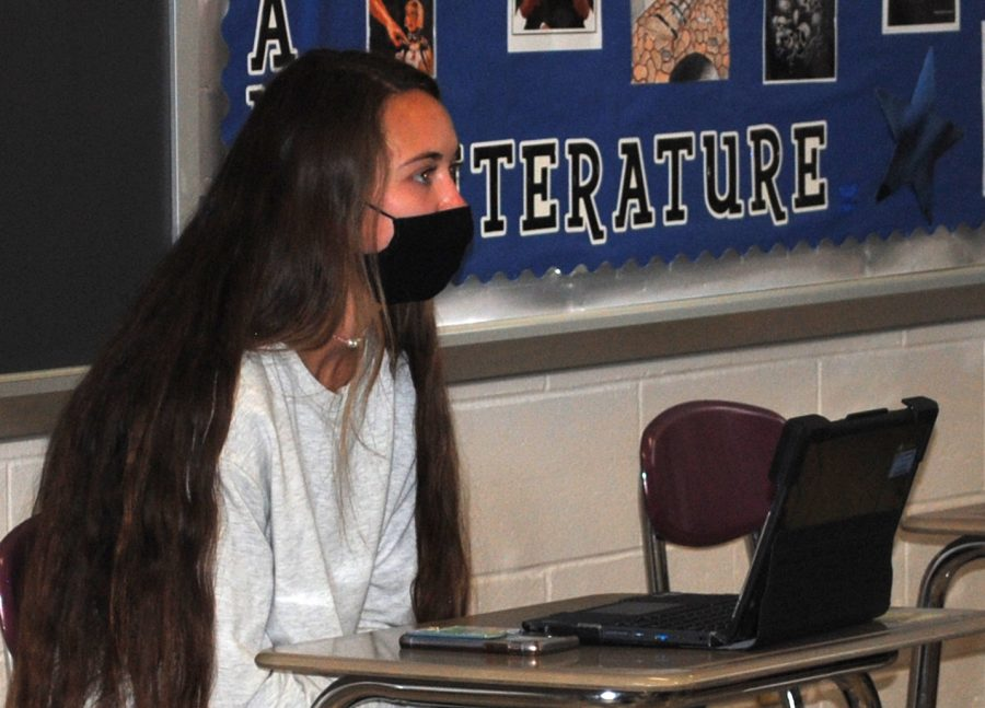 Spring-Ford junior Emma Friend completes work in English class. Students can expect a more usual school year next fall.